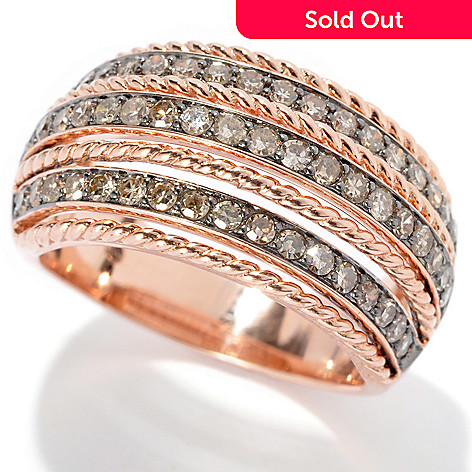 130-650 - Beverly Hills Elegance 14K Rose Gold 0.75ctw Champagne Diamond Band Ring