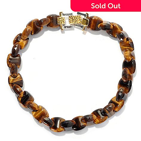 130-652 - Men's en Vogue Interlocking Tiger's Eye Fold-over Clasp Link Bracelet