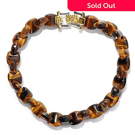 130-652 - Men's en Vogue Interlocking Tiger's Eye Fold-over Clasp Link Bracelet