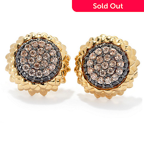 130-655 - Neda Behnam Gold Embraced™ 1.11 DEW Simulated Diamond Sunflower Stud Earrings