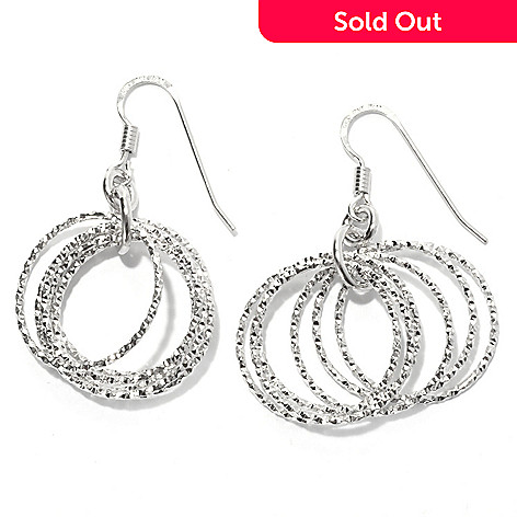 130-669 - Palatino™ Platinum Embraced™ Diamond Cut Multi Circle Dangle Earrings