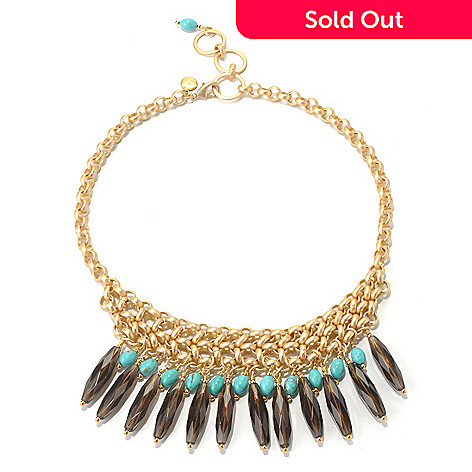 130-673 - mariechavez 17'' Smoky Quartz & Turquoise Bead Necklace