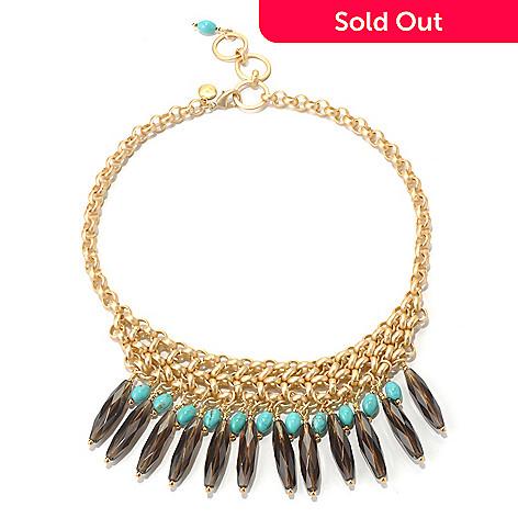 130-673 - mariechavez 17'' Smoky Quartz & Turquoise Bead Necklace