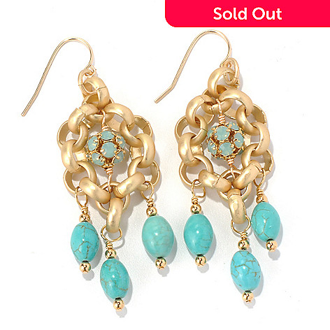 130-674 - mariechavez 2.5'' Turquoise Dangle Earrings Made w/ Swarovski® Elements