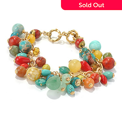 130-677 - mariechavez 7.75'' Multi Gemstone Cluster Toggle Bracelet