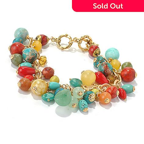 130-677 - mariechavez 7.75'' Multi Gemstone Cluster Toggle Bracelet