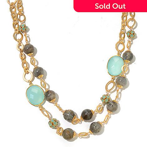 130-679 - mariechavez 18'' Labradorite, Seafoam Crystal & Chalcedony Two-Strand Necklace