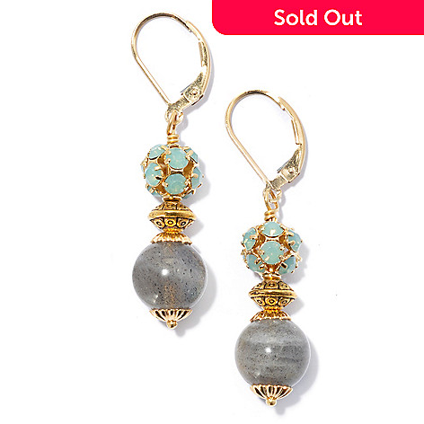 130-680 - mariechavez 1.75'' Labradorite Drop Earrings Made w/ Swarovski® Elements