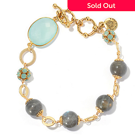130-681 - mariechavez 8'' Labradorite, Seafoam Crystal & Aqua Chalcedony Toggle Bracelet
