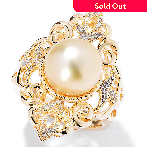 130-684 - 10-11mm Golden South Sea Cultured Pearl & Topaz Vintage-Style North-South Ring