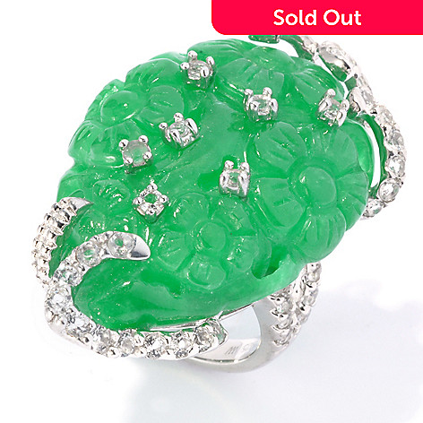 130-691 - Sterling Silver 35 x 25mm Carved Jade & White Topaz North-South Flower Garden Ring