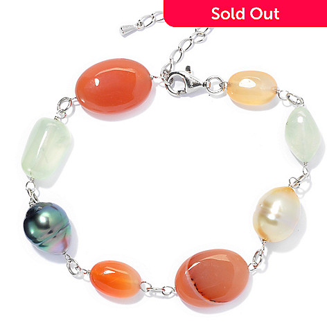 130-692 - Sterling Silver 7.5'' 10-11mm Cultured Pearl & Multi Gemstone Bracelet