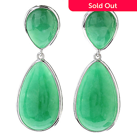 130-695 - Sterling Silver 1.75'' Green Jade Double Pear Shaped Drop Earrings