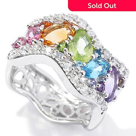130-697 - NYC II 2.00ctw Multi Gemstone Rainbow Wave Band Ring