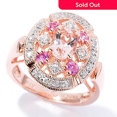 130-698 - NYC II™ 1.08ctw Morganite, Pink Sapphire & White Zircon Halo Ring