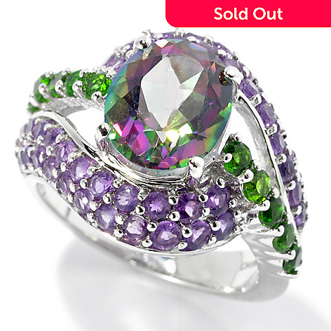 130-699 - NYC II™ 3.76ctw Mystic Topaz, Chrome Diopside & Amethyst Ring