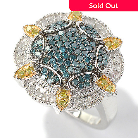 130-718 - Diamond Treasures Sterling Silver 0.76ctw Blue, White & Yellow Diamond Ring