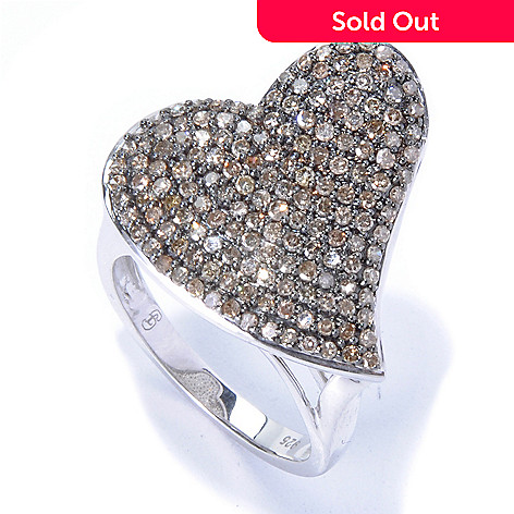 130-719 - Diamond Treasures Sterling Silver 0.89ctw Champagne Diamond Heart Shaped Ring