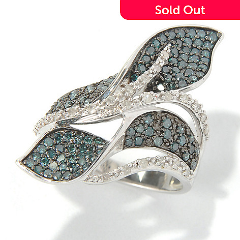 130-720 - Diamond Treasures Sterling Silver 0.95ctw Blue & White Diamond Twisted Petal Ring