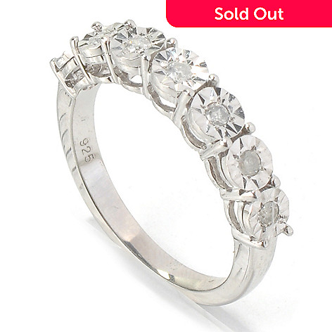 130-721 - Diamond Treasures Sterling Silver 0.14ctw Diamond Burnished Set Sunburst Band Ring
