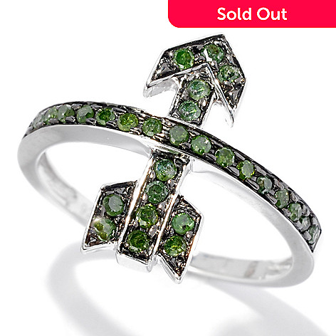 130-722 - Diamond Treasures® Sterling Silver 0.26ctw Green Diamond Arrow Band Ring