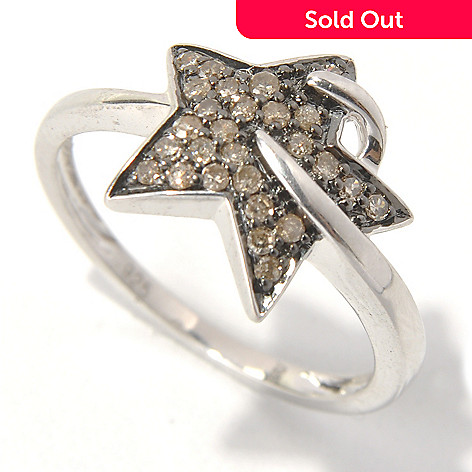 130-724 - Sterling Silver 0.19ctw Fancy Color Diamond Shooting Star Ring