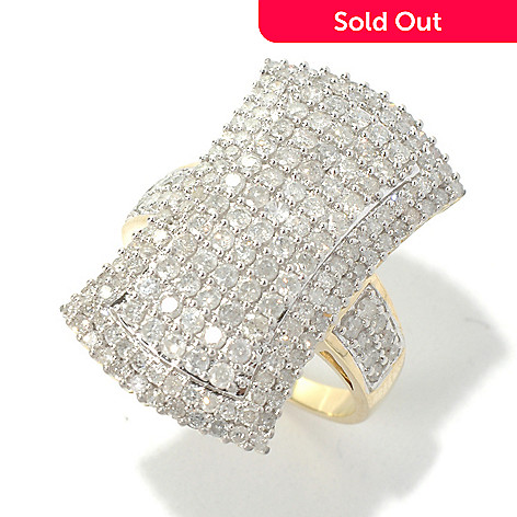 130-726 - Diamond Treasures 14K Gold 1.98ctw Diamond Elongated Ring