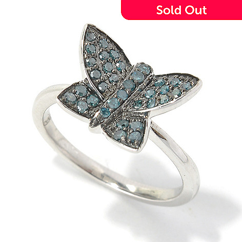 130-730 - Diamond Treasures® Sterling Silver 0.30ctw Round Cut Blue Diamond Butterfly Ring