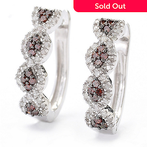 130-731 - Diamond Treasures® Sterling Silver 0.37ctw Red & White Diamond Hoop Earrings