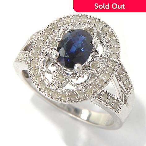 130-732 - Diamond Treasures Sterling Silver 1.26ctw Sapphire & Diamond Halo Split Shank Ring