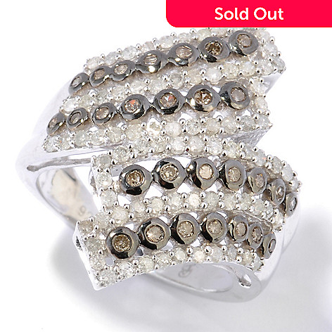 130-734 - Diamond Treasures Sterling Silver 1.00ctw White & Champagne Diamond Double Bypass Ring