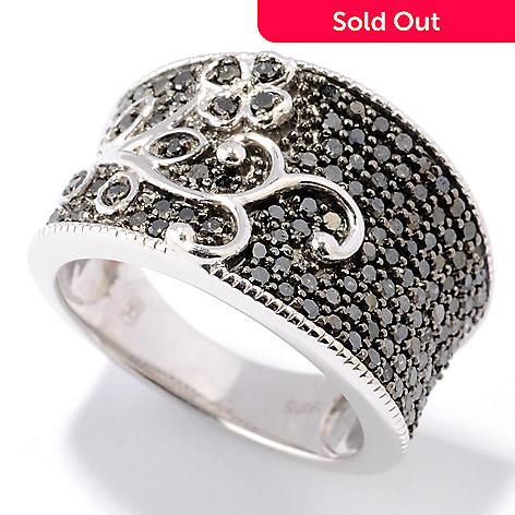 130-736 - Diamond Treasures Sterling Silver 0.77ctw Black Diamond Floral Wide Band Ring