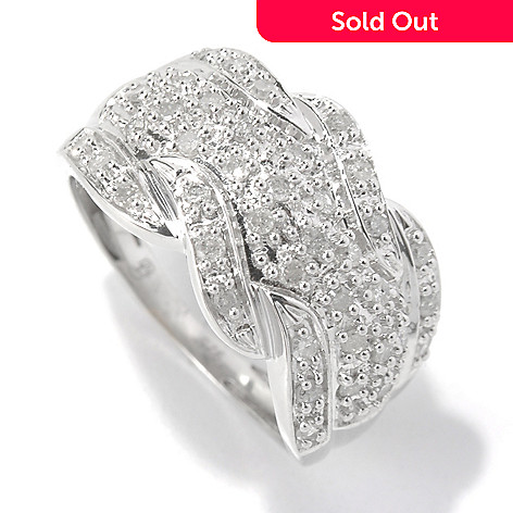 130-737 - Diamond Treasures Sterling Silver 0.40ctw Diamond Twisted Wave Wide Ring