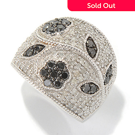 130-739 - Diamond Treasures Sterling Silver 1.75ctw Black & White Diamond Floral Band Ring
