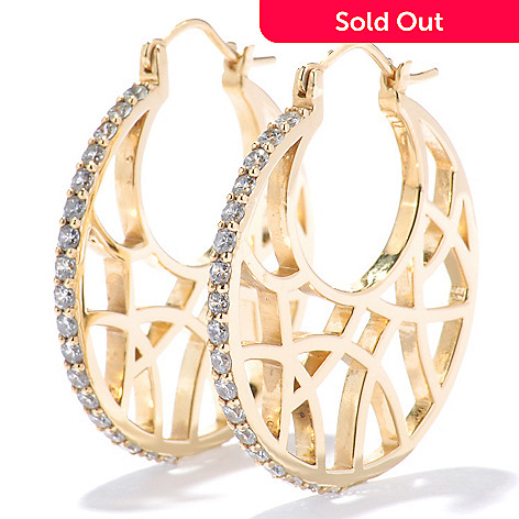130-755 - Sonia Bitton Gold Embraced™ 1.08 DEW Fancy Simulated Diamond 1.25'' Hoop Earrings