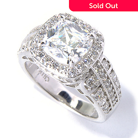 130-759 - Brilliante® Platinum Embraced™ 3.56 DEW Cushion Cut Simulated Diamond Halo Ring