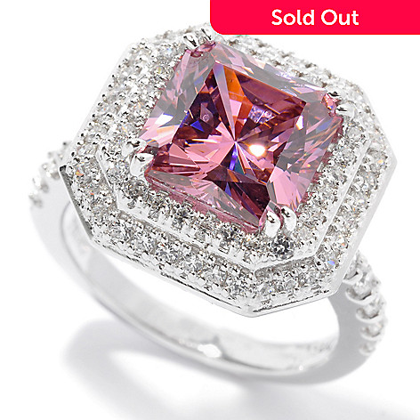 130-762 - Brilliante® Platinum Embraced™ 5.16 DEW Simulated Pink Sapphire Double Halo Ring