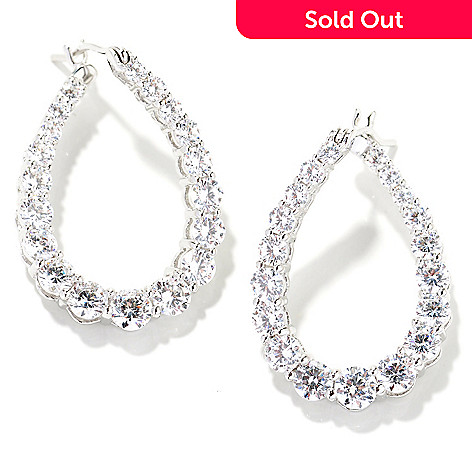 130-765 - Brilliante® Platinum Embraced™ 3.50 DEW Simulated Diamond Graduated Twisted Hoop Earrings