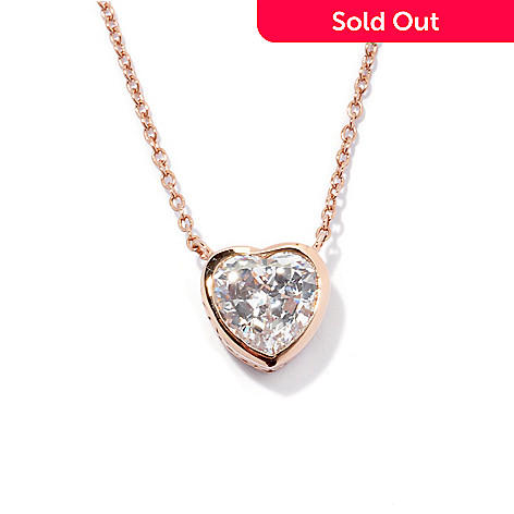 130-766 - Brilliante® Rose Gold Embraced™ 18'' 1.71 DEW Bezel Set Heart Cut Simulated DIamond Necklace