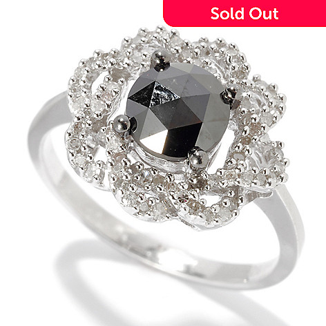 130-774 - Diamond Treasures® Sterling Silver 1.13ctw Black & White Diamond Swirl Ring