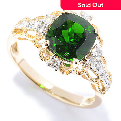 130-786 - Gem Treasures® 14K Gold 2.40ctw Chrome Diopside & Diamond Twisted Border Ring