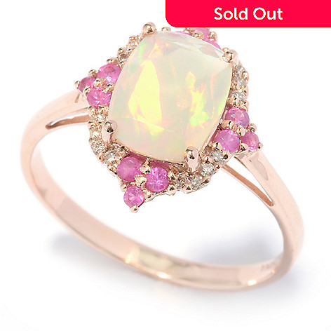 130-787 - Gem Treasures® 14K Rose Gold 1.52ctw Ethiopian Opal, Sapphire & Diamond Ring