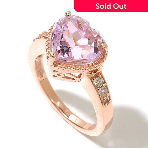 130-789 - Gem Treasures® 14K Rose Gold 3.75ctw Kunzite & White Zircon Heart Shaped Ring