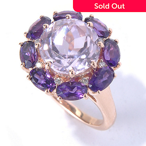 130-790 - Gem Treasures® 14K Rose Gold 5.03ctw Kunzite, Amethyst & Diamond Halo Ring