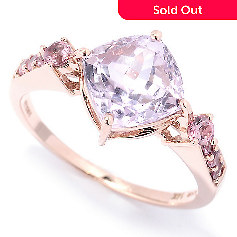 130-791 - Gem Treasures 14K Rose Gold 2.74ctw Cushion Cut Kunzite & Pink Tourmaline Ring