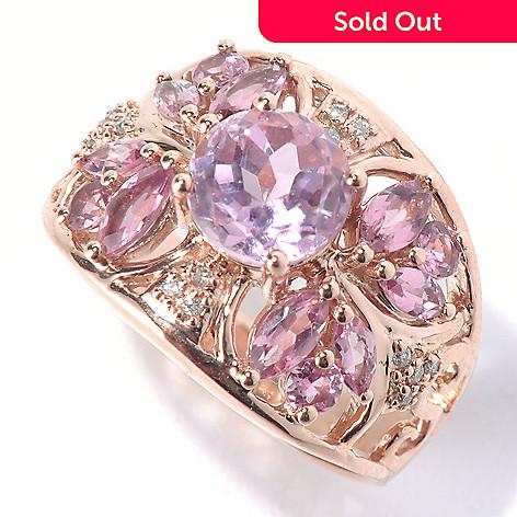 130-793 - Gem Treasures® 14K Rose Gold 2.27ctw Kunzite, Pink Tourmaline & Diamond Ring