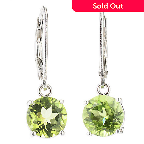 130-801 - Gem Insider Sterling Silver 4.00ctw Peridot Drop Earrings w/ Lever Backs