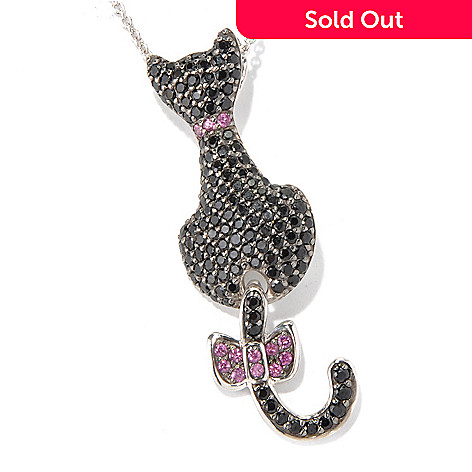 130-803 - NYC II™ 2.53ctw Black Spinel & Rhodolite Swinging Tail Cat Pendant/Pin