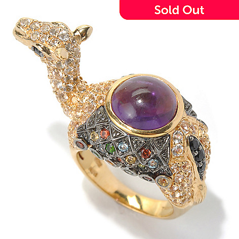 130-804 - NYC II™ 9mm Amethyst Cabochon & Multi Gemstone Camel Ring