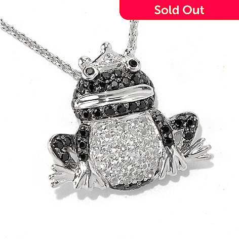 130-807 - NYC II Black Spinel & White Topaz Frog Pendant w/ 18'' Chain